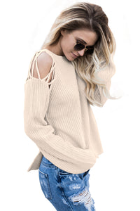 Apricot Lace up Shoulder Sweater