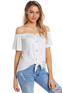 White Off the Shoulder Button Top