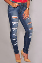 Load image into Gallery viewer, Blue Denim Destroyed Whisker Wash Skinny Jeans