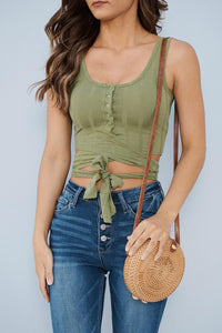 Green Buttoned Wrap Around Vest