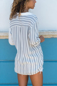 White Casual Roll-up Sleeve Stripe Pocket Loose Shirt