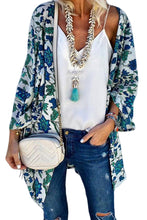 Load image into Gallery viewer, White Floral Print Loose Kimono Cardigan Cape