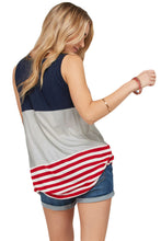 Load image into Gallery viewer, Gray Sleeveless Colorblock American Flag Print Tunic Top