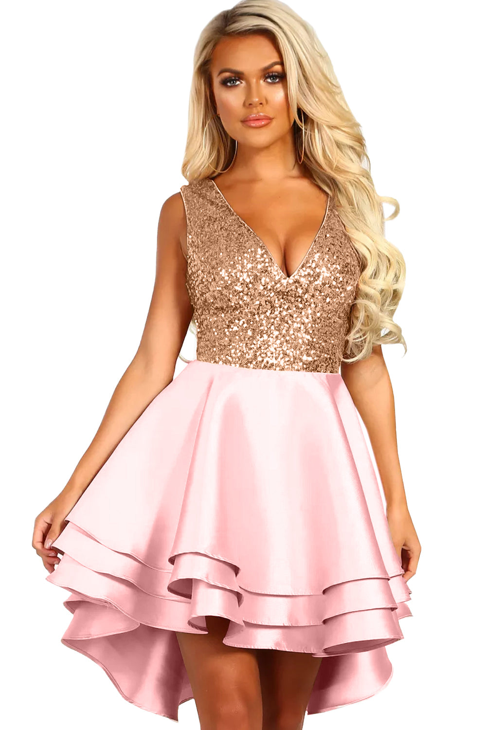 Heart Broken Pink Gold Sequin Multi Layer Skater Dress