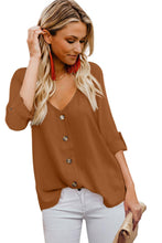 Load image into Gallery viewer, Orange Button Detail Roll up Sleeve Blouse