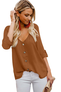 Orange Button Detail Roll up Sleeve Blouse