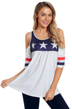 Load image into Gallery viewer, White Cold Shoulder American Tee with Varsity Stripes
