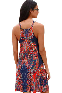 Navy Coral Bohemian Print Racerback Dress
