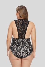 Load image into Gallery viewer, Black Plus Size Deep V Neck Floral Lace Lined Bodysuit