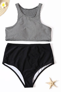 Striped Solid Color Vest Swimsuit Two-piece Suit