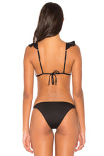 Load image into Gallery viewer, Black Ruffle V Neck Triangular Bikini 2pcs Swimsuit