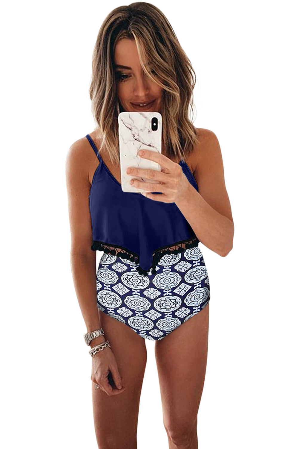 Blue Print High Waist Swimsuit