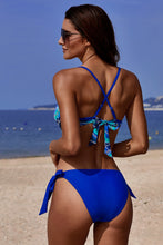 Load image into Gallery viewer, Blue Printed Top Self-tie Panty Swimwear
