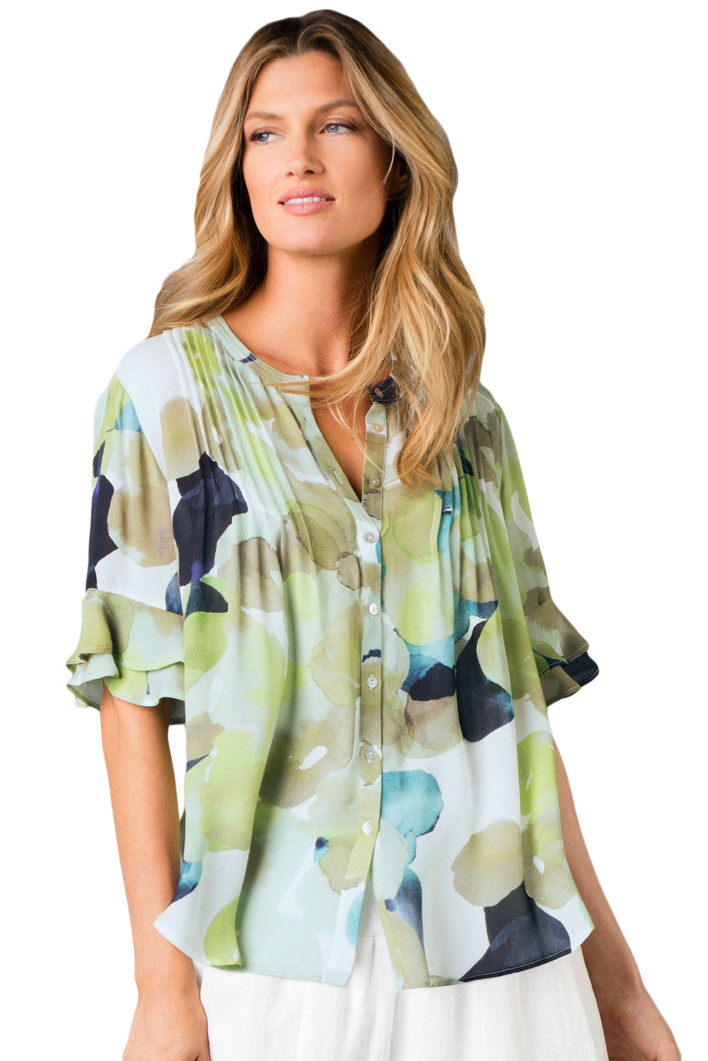 Draped Tie Dye Print Blouse with Flounced Sleeves