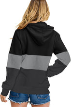 Load image into Gallery viewer, Black Color Block Zipped Neck Hoodie
