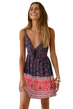 Load image into Gallery viewer, Blue Floral Pattern Tank Slip Dress
