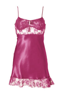 Rose Satin Lace Negligee Babydoll