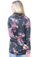 Load image into Gallery viewer, Pink Floral Print Cowl Neck Charcoal Sweatshirt