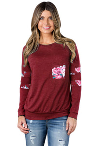 Floral Patch Accent Burgundy Sweatshirt