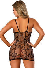 Load image into Gallery viewer, Black Open Cup Fishnet Chemise