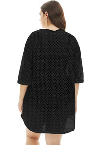 Black Crochet Lace up Plus Size Cover Up