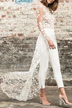 Load image into Gallery viewer, White Perspective Lace Long Tail Party Jumpsuit