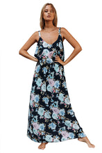 Load image into Gallery viewer, Chic Summer Boho Floral Maxi Dress in Black