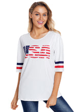 Load image into Gallery viewer, White USA Short Sleeve Tee with Varsity Stripes