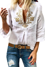 Load image into Gallery viewer, White Boho Embroidered V Neck 3/4 Sleeve Casual Blouse