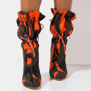 2020 Spring/Autumn New High Heels 11Cm Stilettos Fashion Camouflage Ankle Boots Shoes Woman Lace Up Sexy Night Club Boots Orange