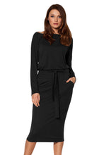 Load image into Gallery viewer, Black Roll-tab Long Sleeve Tie Waist Midi Dress