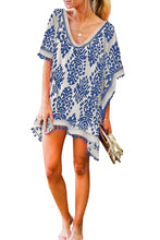 Load image into Gallery viewer, Black/Red/Blue/Orange Floral Print Tassel Hem Beach Cover up