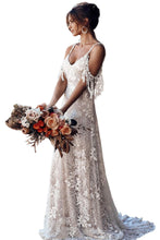 Load image into Gallery viewer, White Secret Garden Embroidery Lace Wedding Party Dress