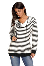 Load image into Gallery viewer, White Black Stripes Women Casual Hoodie