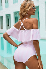 Load image into Gallery viewer, Pink Spaghetti Straps Striped Ruffled One-piece Swimsuit
