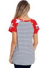 Load image into Gallery viewer, Star Short Sleeves Red Black American Flag T-shirt