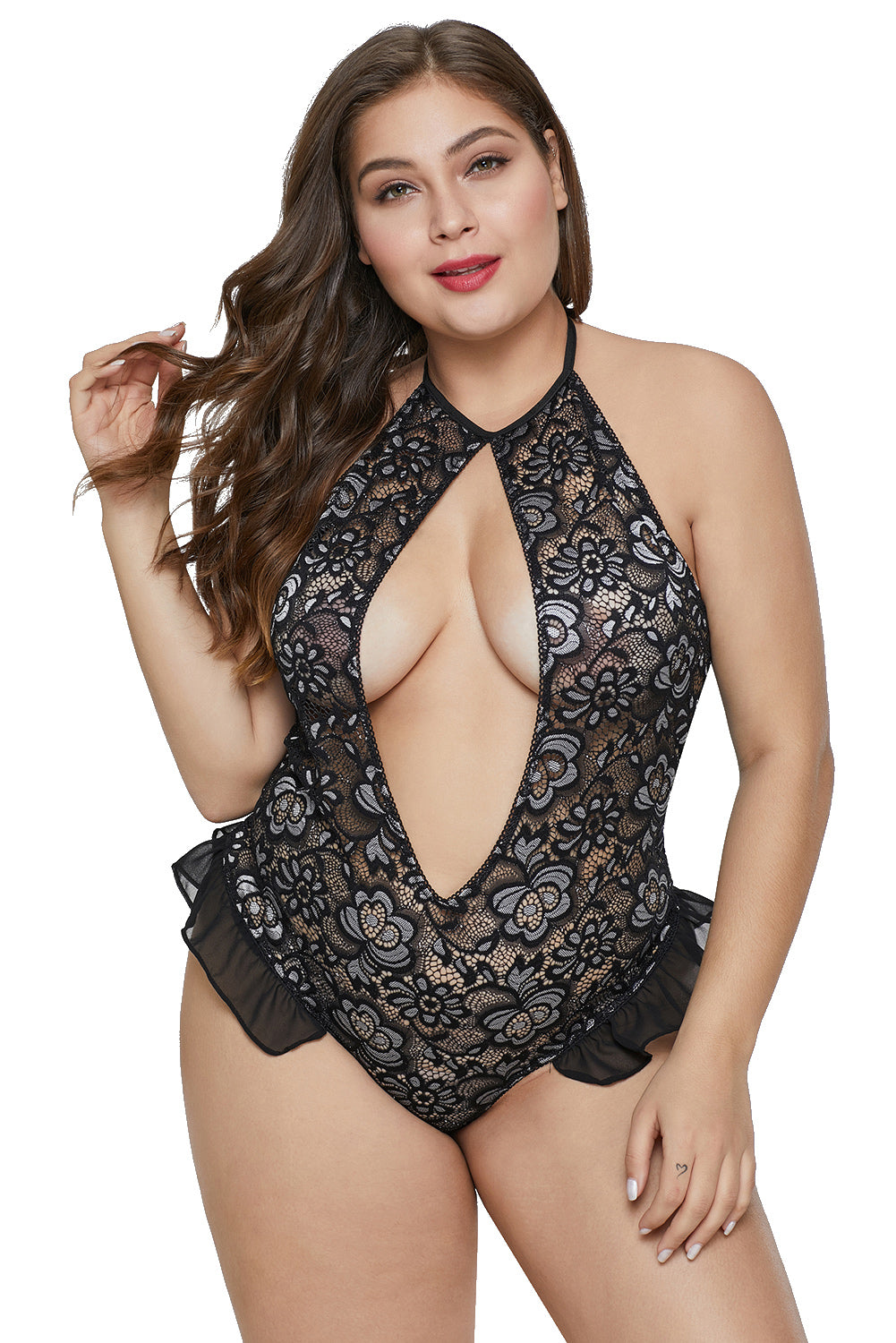 Halter Hollow-out Front Floral Plus Size Teddy Lingerie
