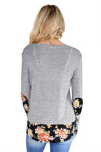Load image into Gallery viewer, Dark Floral Patchwork Grey Long Sleeve Shirt