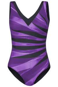 Purple Plus Size Striped Print V Neck Maillot Swimsuit