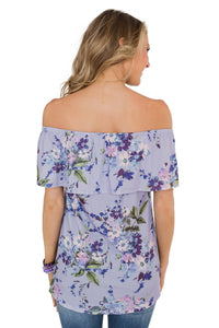 Purple Grow with Me Off The Shoulder Floral Top
