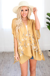 Yellow Floral Cover up Kimono