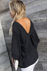 Black V-Neck Bowknot Three-Quarter Sleeve Blouse