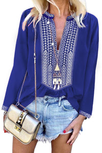 Blue Long Sleeves Front Embroidery Blouse