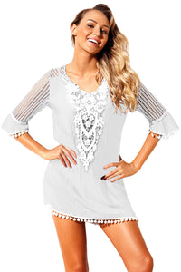 White Crochet Pom Pom Trim Beach Tunic Cover up