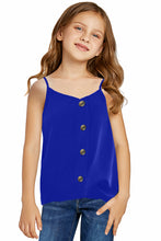 Load image into Gallery viewer, Blue Girls Sleeveless Button Down Cami Tank