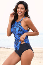 Load image into Gallery viewer, Sky Blue Hanky Hem High Neck Tankini