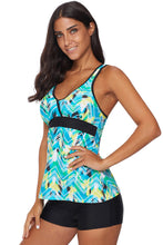 Load image into Gallery viewer, Green Printed Tankini Top Solid Boyshort Swimsuit