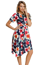 Load image into Gallery viewer, Navy Floral Print Twist Front Handkerchief Hem Dress