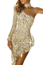 Load image into Gallery viewer, Single Shoulder Off-the-Shoulder Sequin Party Dress
