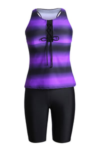Purple Black Ombre Print Racerback Tankini Swimsuit